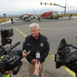 UPD Detective Ken Hansen speaks to media as authorities respond to a crash at 14400 S. Mountain View Corridor in Herriman that resulted in a single fatality Thursday, Oct. 29, 2015.