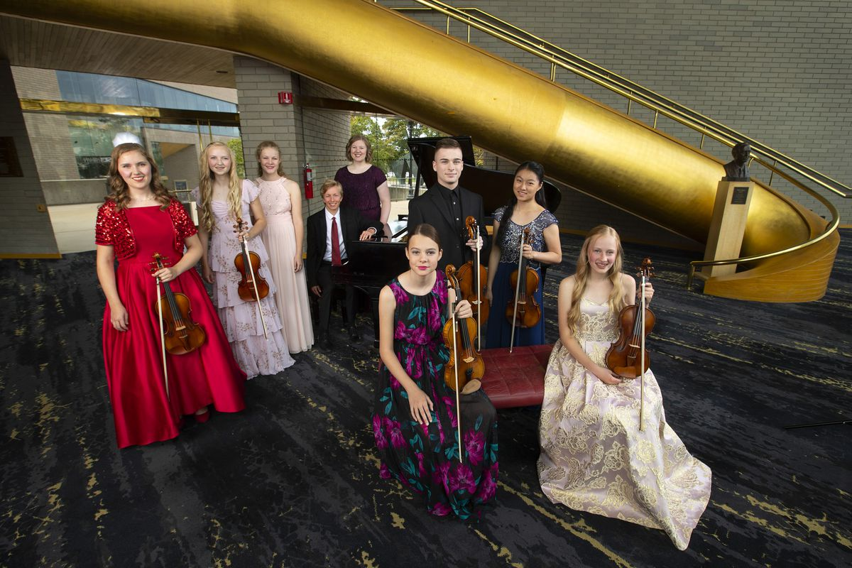 Makenzie Hart, left, Eliza Hart, Dora Meiwes, Gabrial Coombs, Avery Gunnell, Evelyn Meiwes, Mathew Lee, Ellen Hayashi, Sarah Kendell and Megan Tandar (not pictured) are the 2019 Salute to Youth performers. They are pictured here in Abravanel Hall in Salt Lake City on Friday, Aug. 9, 2019.
