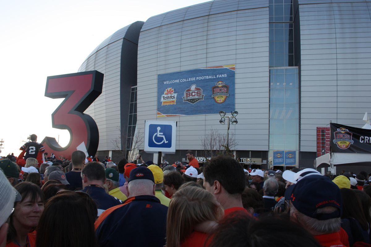 Thousands of fans had to wait hours to get in to the University of Phoenix Stadium for the NCAA  BCS National Championship Game. Glendale, Arizona January 10th, 2011.