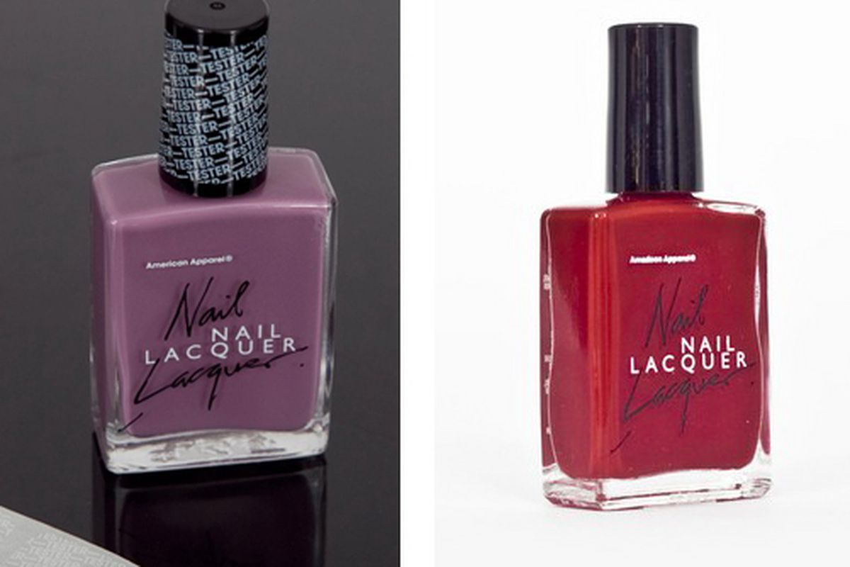"""Images via <a href=""""http://www.wwd.com/beauty-industry-news/american-apparel-launching-nail-polish-line-2397727?module=today"""">WWD</a>, <a href=""""http://www.blackbookmag.com/article/first-look-american-apparel-unveils-nail-laquer/14221"""">BlackBook</a>"""