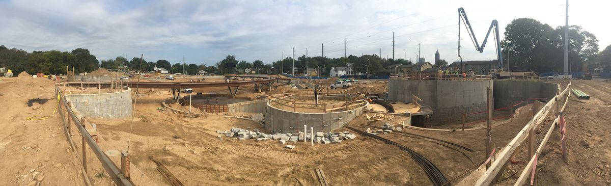 Construction of the park's three terraced pools at the Thurmond and Walnut Street intersection continues.