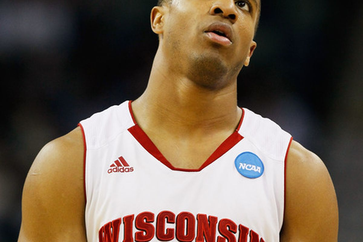 Jordan Taylor #11 of the Wisconsin Badgers reacts during their game against the Butler Bulldogs in the Southeast regional of the 2011 NCAA men's basketball tournament.