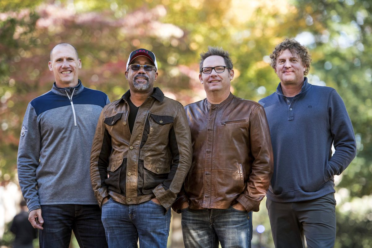 Hootie & the Blowfish —Jim Sonefeld (from left), Darius Rucker, Dean Felber and Mark Bryan — are out on the road with a new tour, and a new album due Nov. 1.