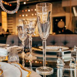 """Saint-Louis Oxymore Crystal Champagne Flute, <a href=""""http://jungleeny.com/dining/glassware/champagne/oxymore-champagne-flute.html"""">$215</a>"""