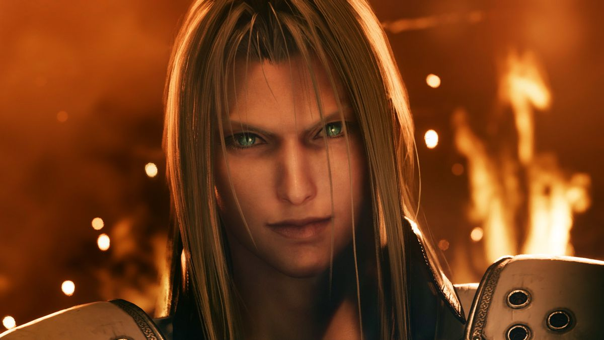 A close-up shot of Sephiroth standing in front of a burning building from Final Fantasy 7 Remake