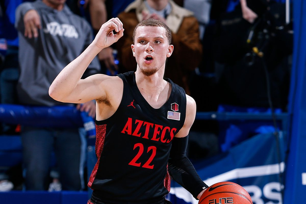 San Diego State Aztecs guard Malachi Flynn motions as he dribbles the ball up court in the first half against the Air Force Falcons at Clune Arena.