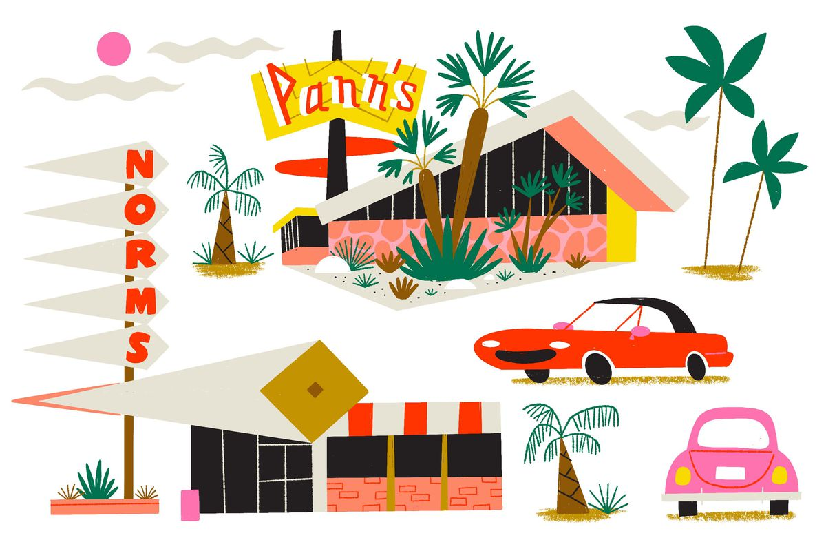 Two Googie architecture LA landmarks; Pann's Diner and Norm's as well as an assortment of palm trees and retro cars. Illustration.