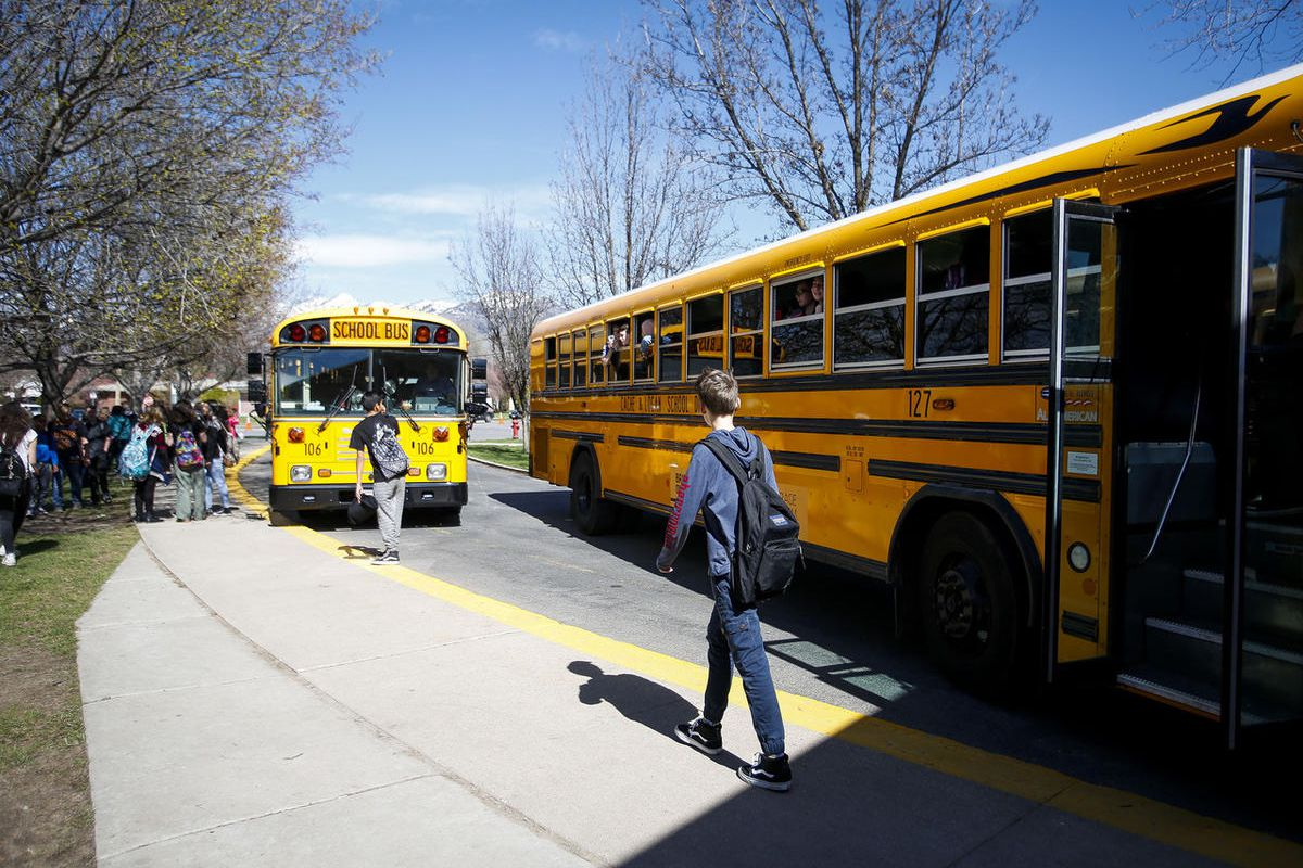 FILE - Students leave Mount Logan Middle School in Logan on Wednesday, March 29, 2017.