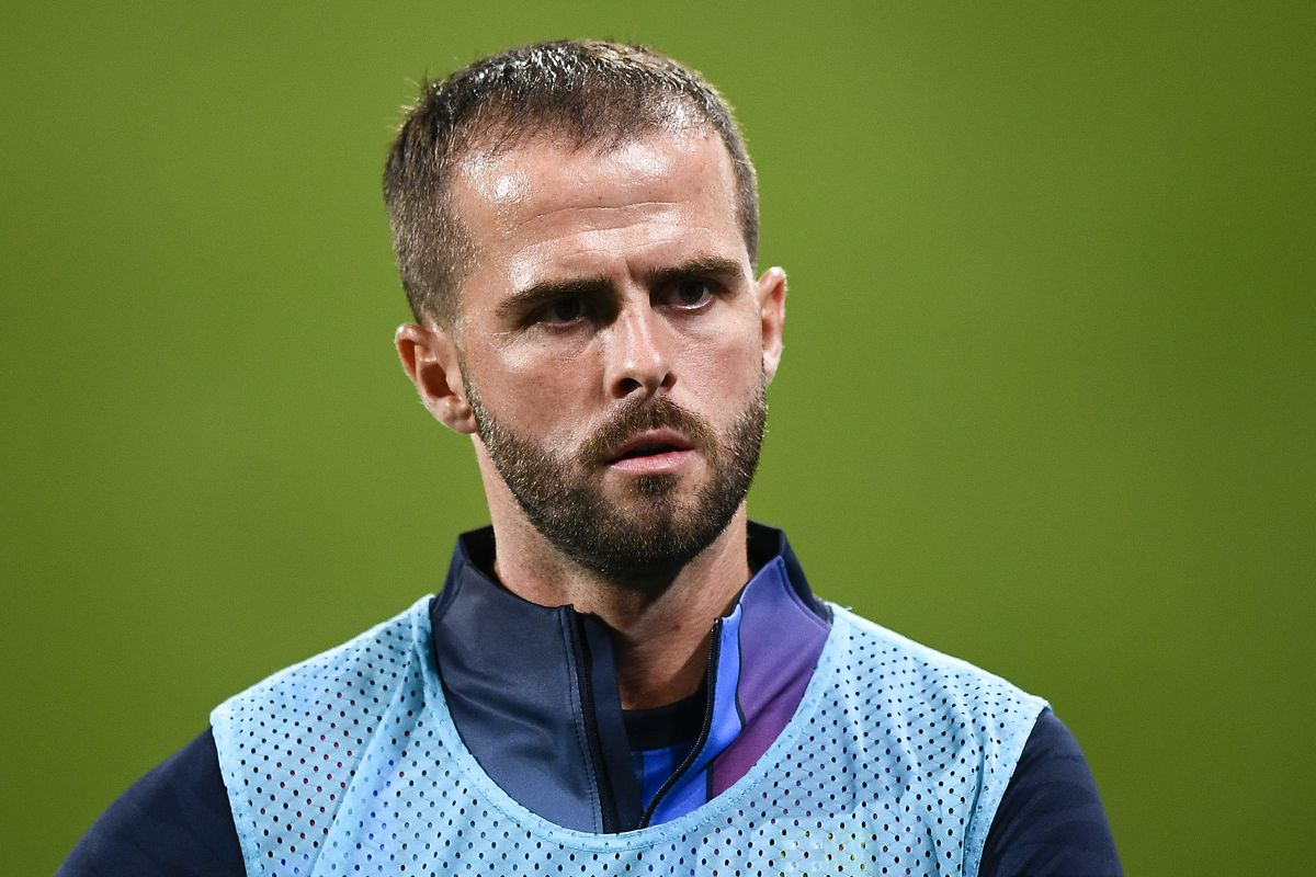 Miralem Pjanic of FC Barcelona looks on during the pre-...