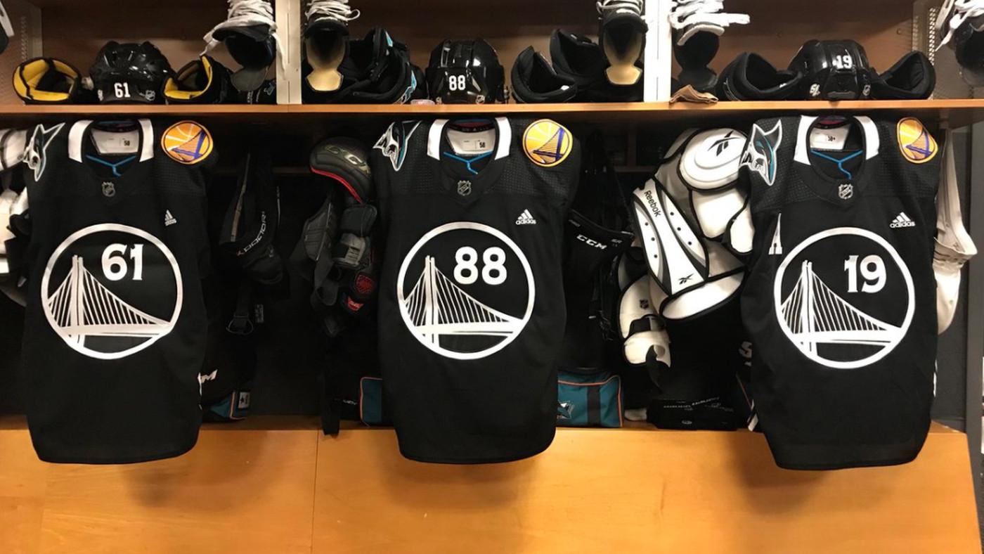 the latest d0ed4 d1817 San Jose Sharks wear Golden State Warriors inspired jerseys ...