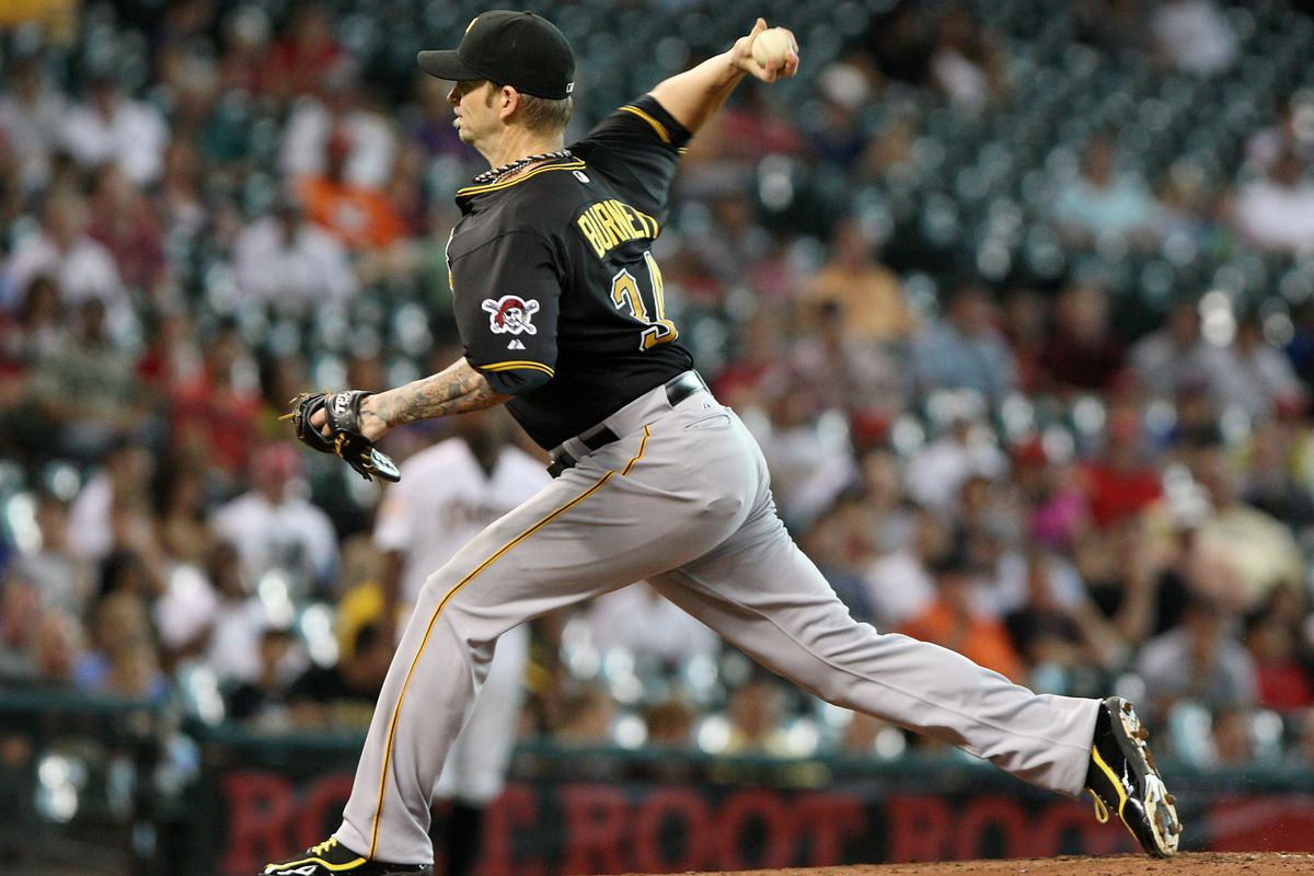 July 26, 2012; Houston, TX, USA; Pittsburgh Pirates pitcher A.J. Burnett (34) pitches in the first inning against the Houston Astros at Minute Maid Park. Mandatory Credit: Troy Taormina-US PRESSWIRE