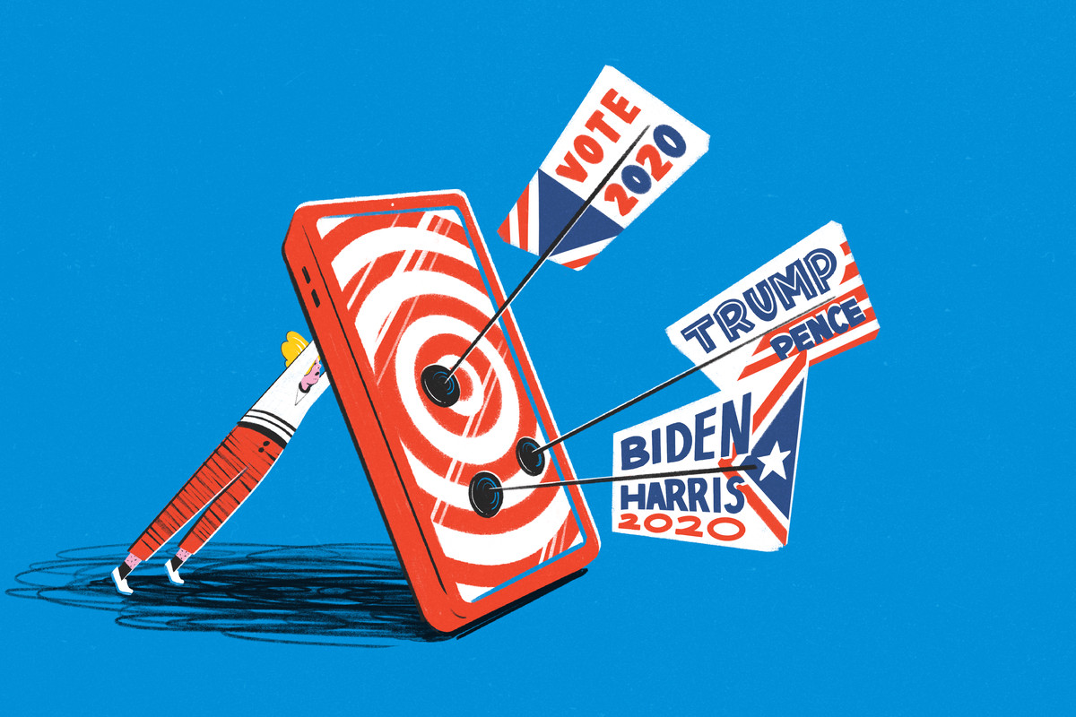 An illustration of arrows with political ads on them stuck into a giant phone propped up by a small person.