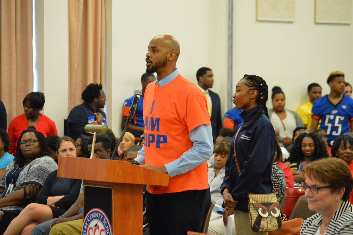 Tim Pruitt, assistant principal of KIPP Memphis Collegiate Middle School, urges members of Shelby County's school board during an April 26 meeting not to close his charter school.