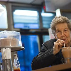 Mary has been a customer here for the past 40 years.. her children have all come here through the years. She stops in once in awhile for a chocolate milk shake like she did this day.