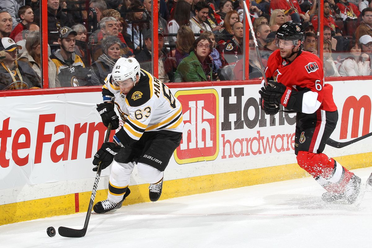 Brad Marchand, pictured here trying to retract his head into his torso