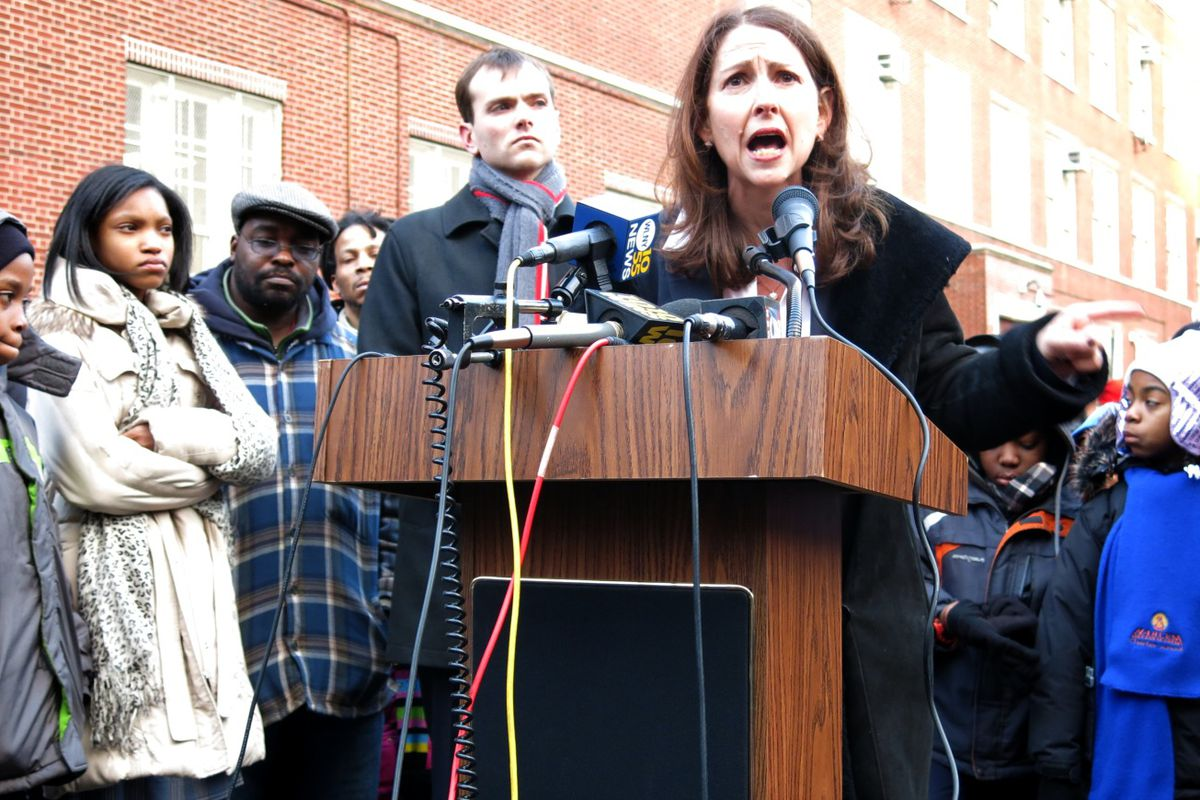 demy CEO Eva Moskowitz railed against the city's decision to cancel three previously approved co-locations involving Success schools during a press conference Thursday outside of Success Academy Harlem 4.
