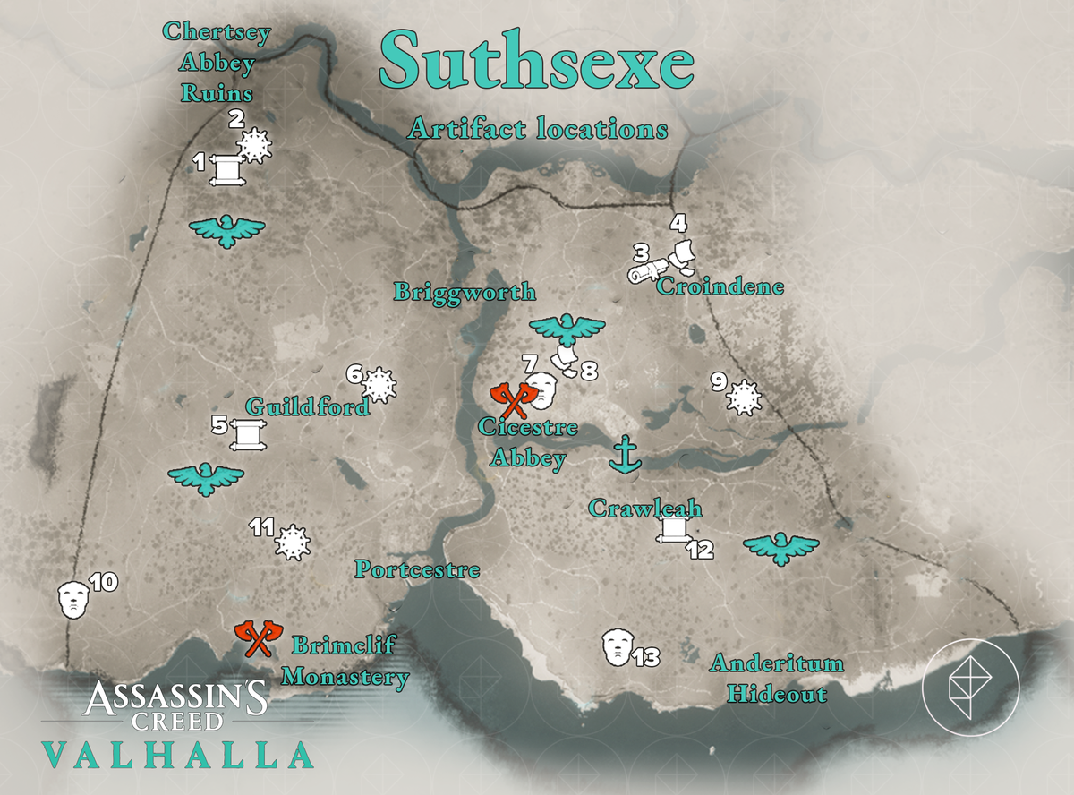 Suthsexe Artifacts locations map