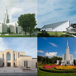 The Hague Netherlands Temple, top left, and clockwise, the Frankfurt Germany Temple, the Bern Switzerland Temple and the recently dedicated Paris Temple Temple are four temples in four European countries that can be visited in about 14 hours on the road.