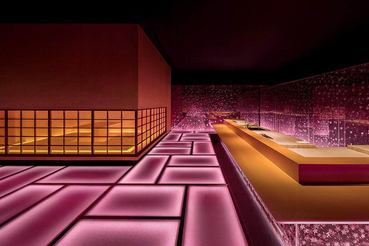 Pink glowing floors in restaurant