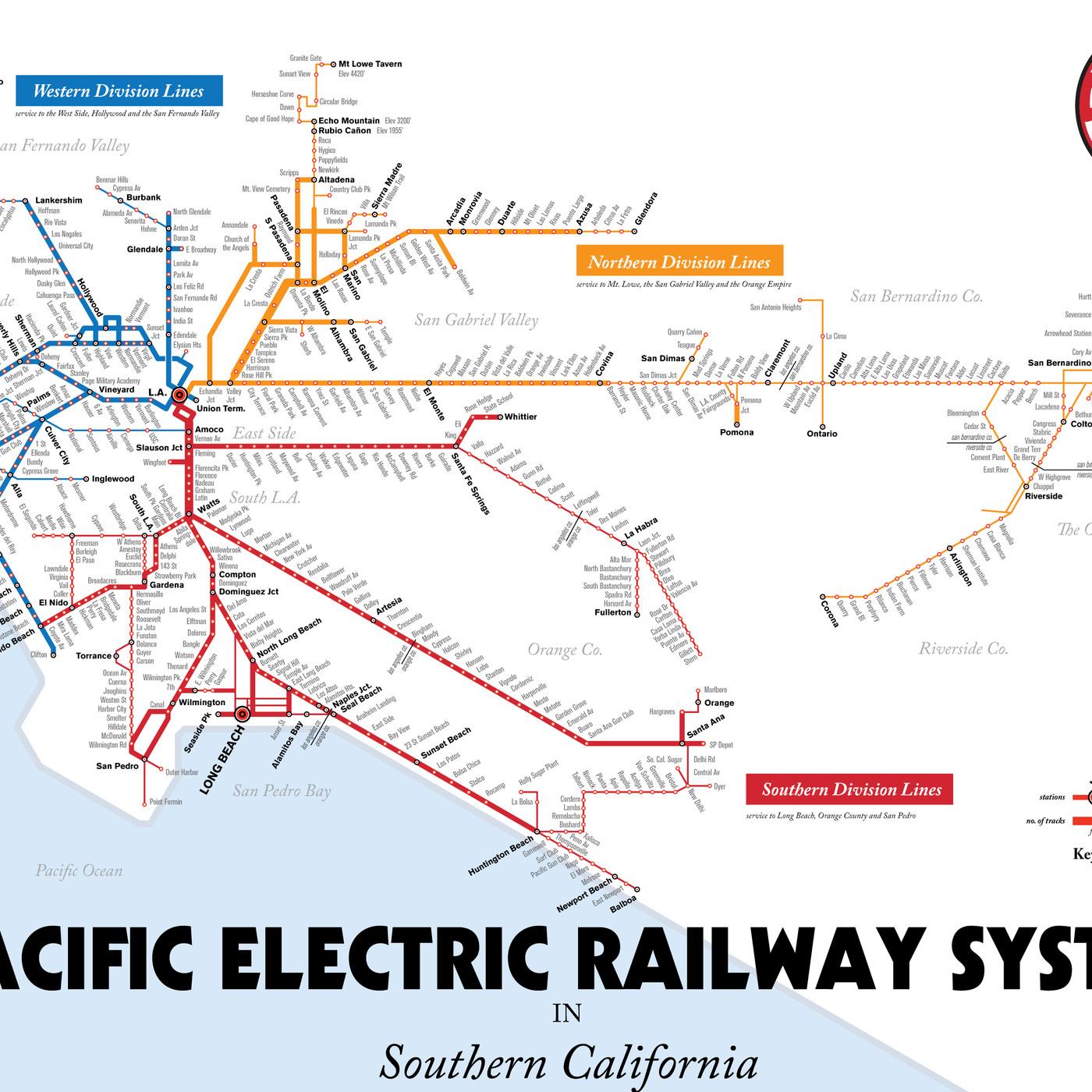 Current La Subway Map.Map Details La S Red Car Streetcar Lines Curbed La