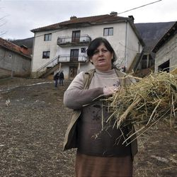 """Time Osmankaj, a relative of Sami Osmankac, carries feed to livestock in front  of the house where naturalized American citizen Sami Osmakac, 25, was born, in the Osmankaj family compound in the village of Lubizde, Kosovo Tuesday, Jan 10, 2012. Kosovo-born man Sami Osmakac was charged with plotting to attack Tampa-area nightclubs and a sheriff's office with bombs and an assault rifle to avenge wrongs done to Muslims, federal authorities said Monday. According to a federal complaint, Osmakac recorded an eight-minute video shortly before his arrest explaining why he wanted to bring terror to his """"victims' hearts"""" in the Tampa Bay area. (AP Photo/Visar Kryeziu)"""
