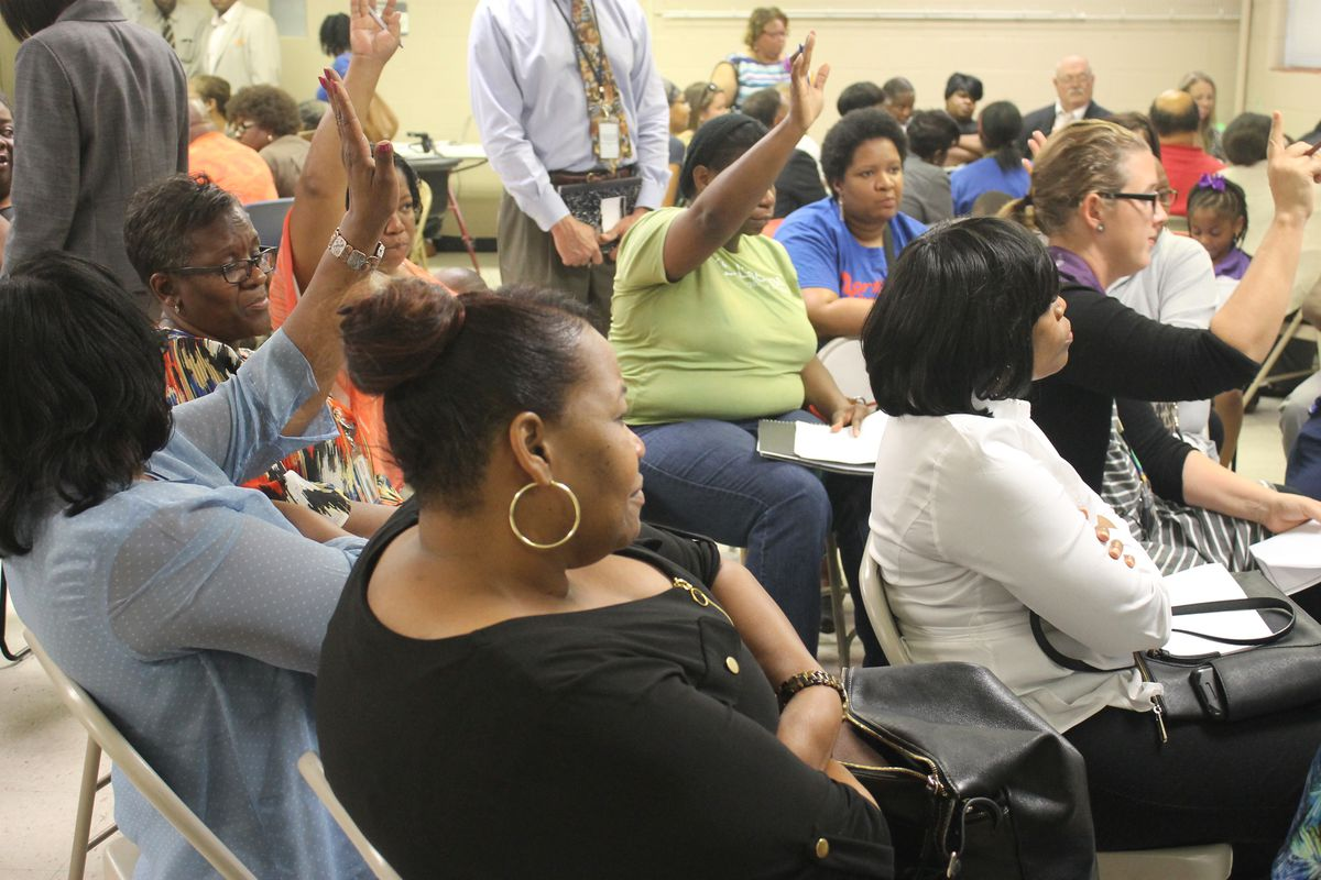 Teachers, parents and other education stakeholders offer input during a community meeting in Frayser about the future of Shelby County Schools.
