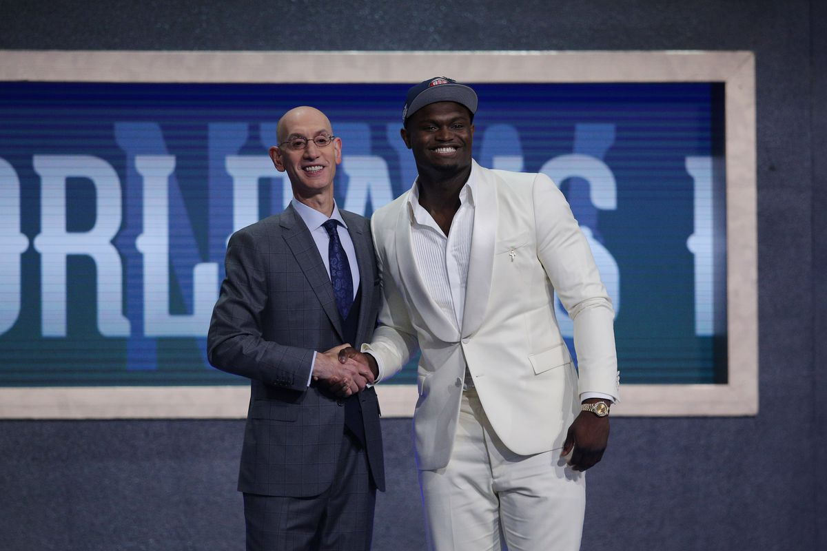 Zion Williamson greets NBA commissioner Adam Silver after being selected as the number one overall pick to the New Orleans Pelicans in the first round of the 2019 NBA Draft at Barclays Center.