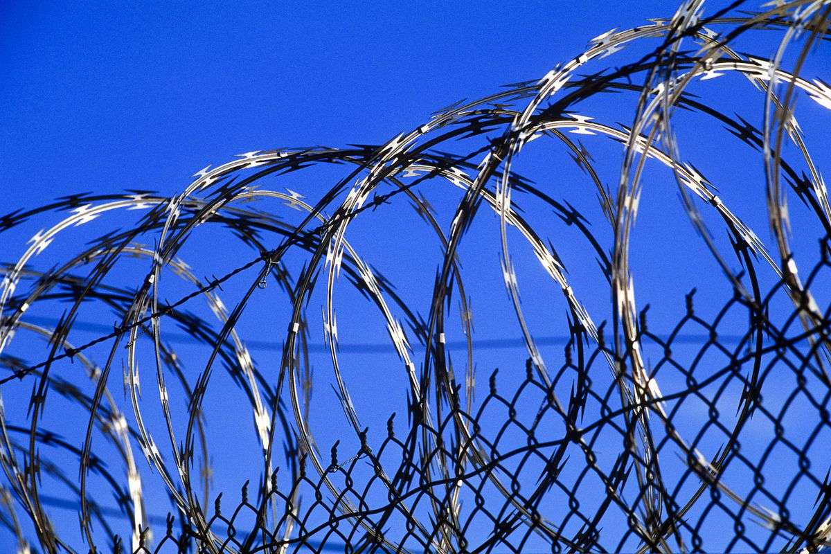 A prison fence.