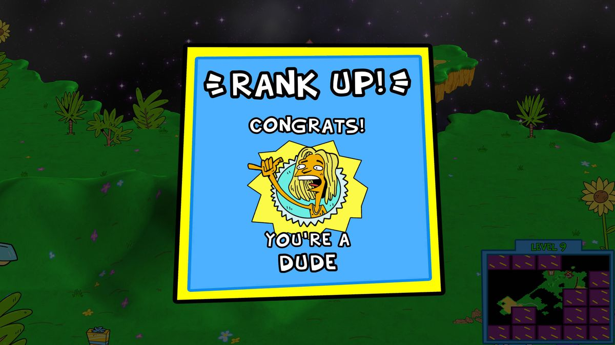The top level screen in ToeJam & amp; Earl: Back in the Groove includes classic ranks such as Weiner, Dufus and Dude.