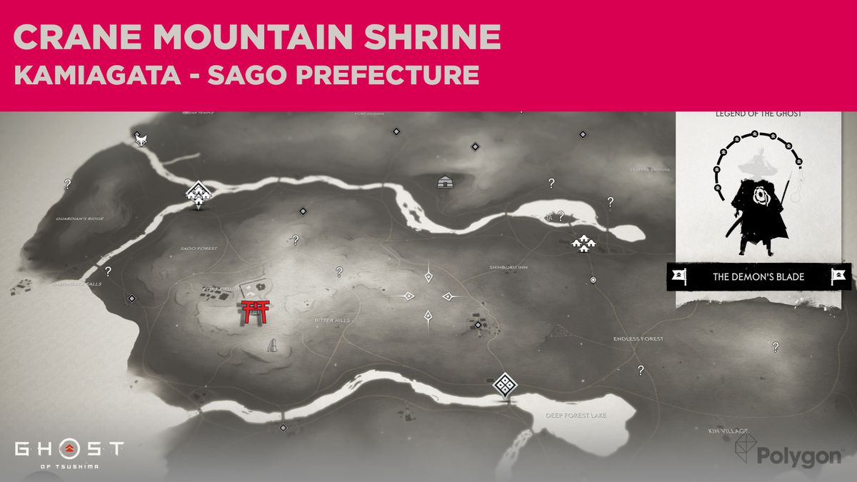The location of Crane Mountain Shrine in Ghost of Tsushima