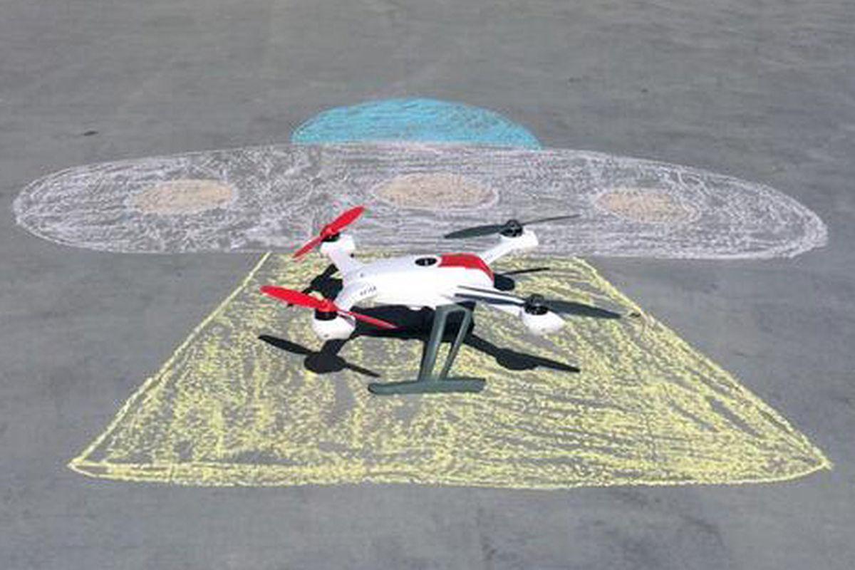 "Photo of QuiQui's testing drone via QuiQui/<a href=""https://twitter.com/quiquiSF/status/446052262243098624"">Twitter</a>"