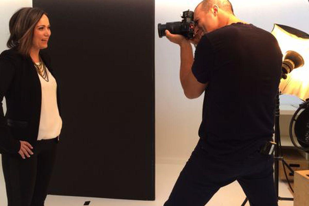 "Nigel Barker does his photography thing with the Joyus contest winner. Photo courtesy of <a href=""https://www.joyus.com"">Joyus</a>."
