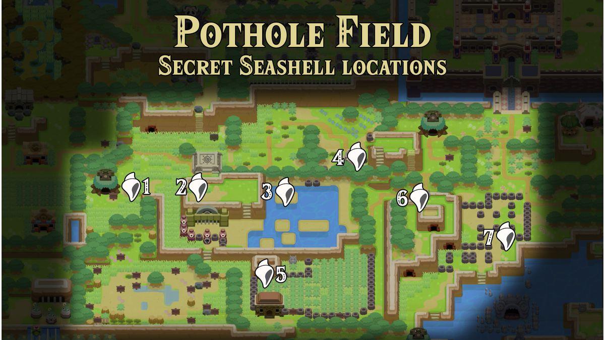 Link's Awakening Pothole Field Secret Seashells locations map