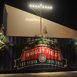 Holiday display on the Clark Street side of the Cubs Store