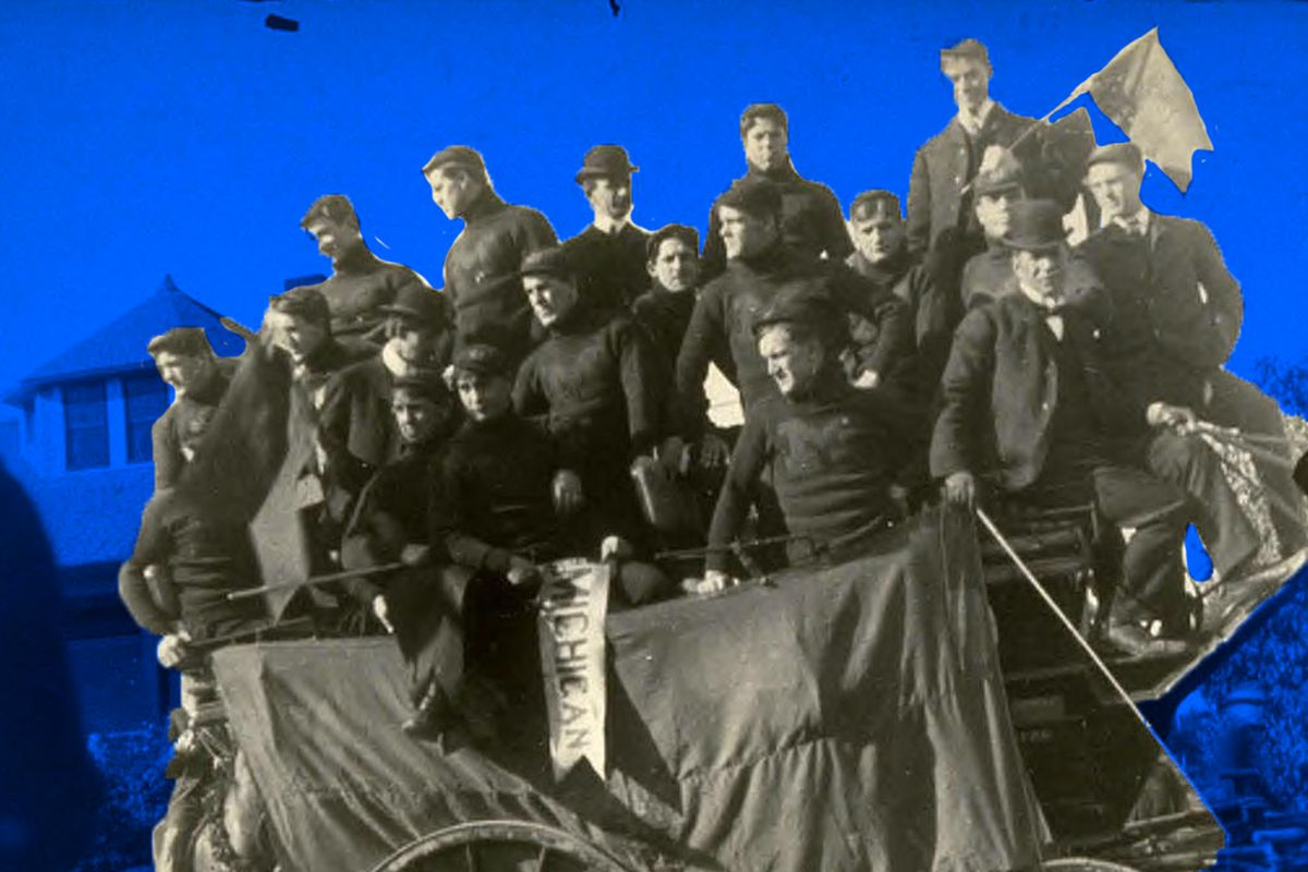Michigan's football team rides on a carriage in the 1902 Rose Parade at the Tournament of Roses in Pasadena.