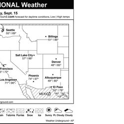 This is the Weather Underground forecast for Saturday, Sept. 15, 2012 for the western region of the U.S.