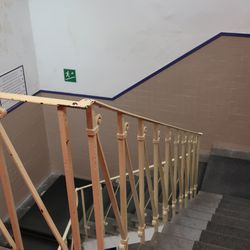 Famous railing in the player stairwell