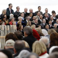 The choir sings during the ceremony as thousands turn out in the rain Saturday, Oct. 8, 2011 for the ground breaking for the Payson Temple.