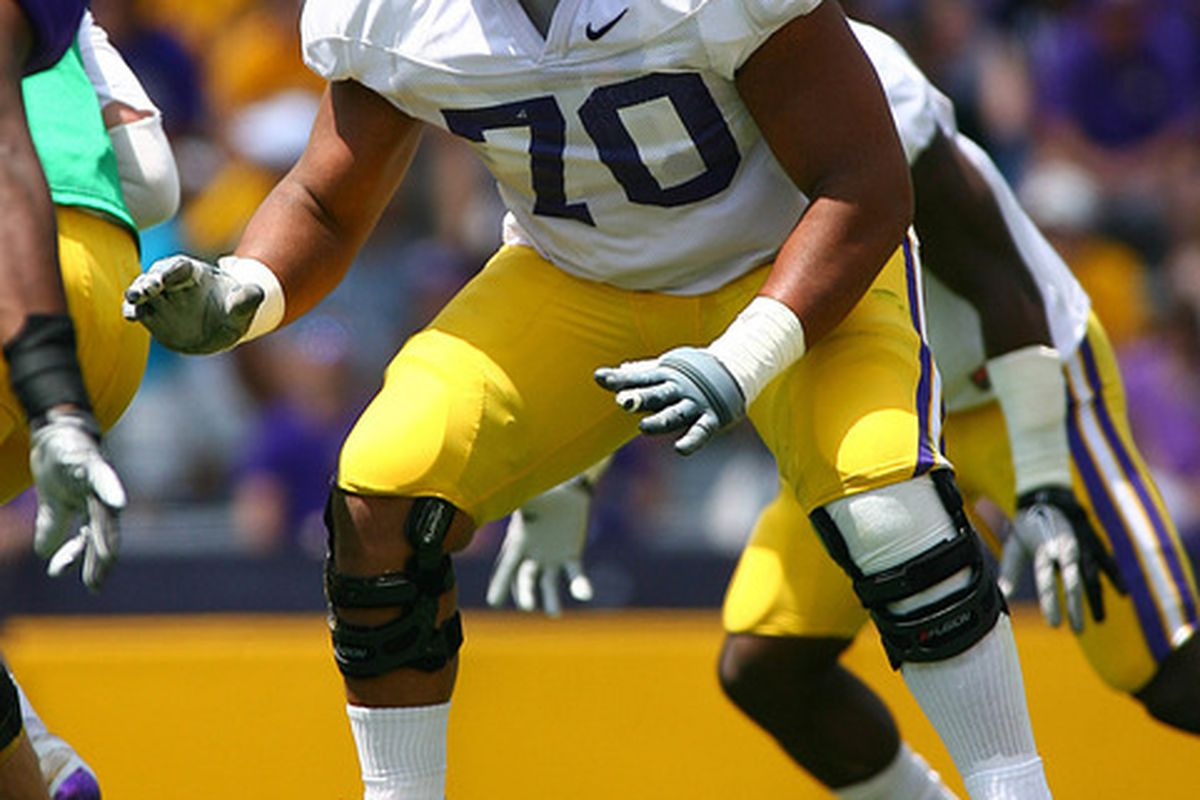 La'El Collins is a prototypical LT prospect but will play guard initially at LSU, mostly in effort to get their best five on the field.   Mandatory Credit: Spruce Derden-US PRESSWIRE