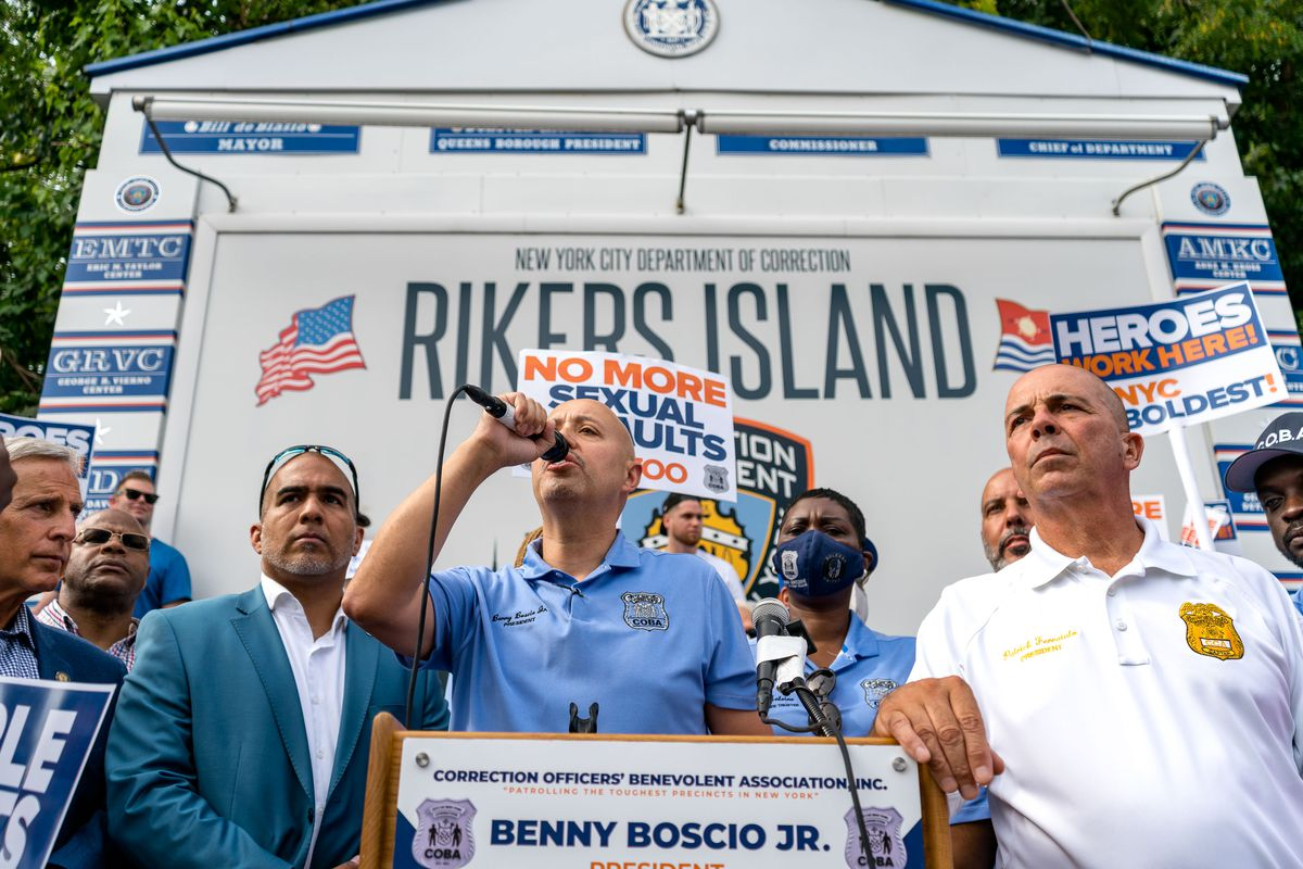 Benny Boscio Jr. President of COBA, speaks at the rally for CO rights, at the entrance to Riker's Island on Monday, August 16th, 2021