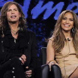 """FILE - In this Jan. 11, 2011 file photo, Steven Tyler, left, and Jennifer Lopez, judges on the FOX series """"American Idol,"""" take part in a panel discussion during the FOX Broadcasting Company Television Critics Association winter media tour in Pasadena, Calif. Randy Jackson, Paula Abdul and Simon Cowell were the original judges on """"American Idol."""" The cast of judges has changed over the years, with Jackson now the lone judge left from the first season. On Sunday, Sept. 16, 2012, singer-rapper Nicki Minaj and country crooner Keith Urban were named as judges, joining Mariah Carey and Jackson, as the judges' panel has now expanded to four members from its previous three."""