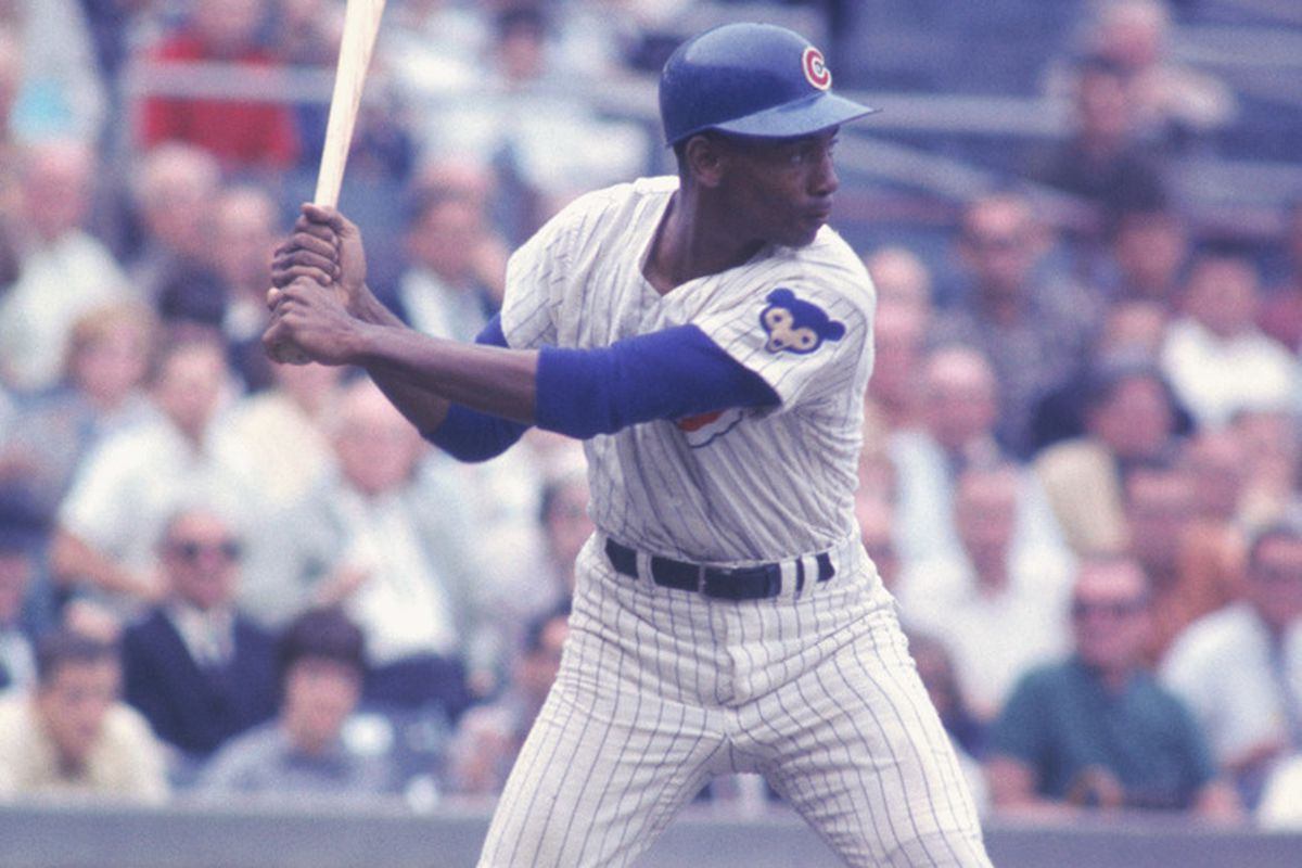 Chicago Cubs' Ernie Banks #14 swings away during a game at Wrigley Field in Chicago, Illinois. (Focus on Sport/Getty Images Sport)