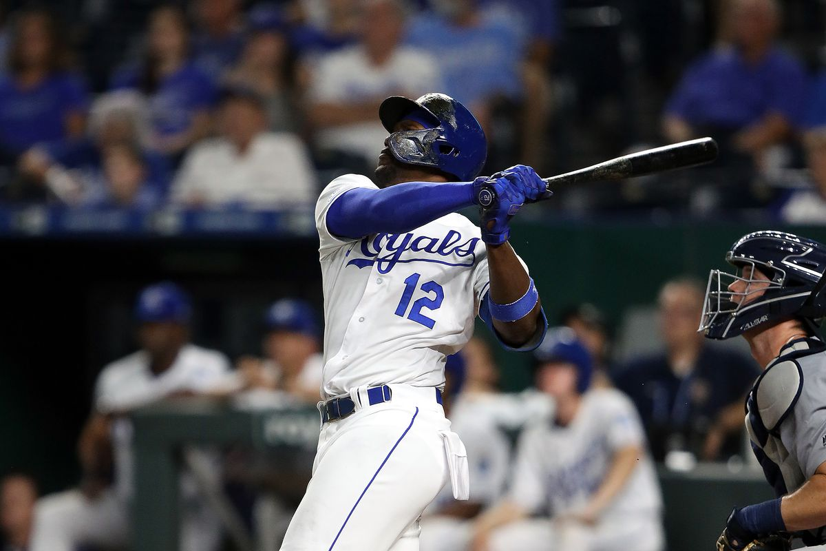 SEPTEMBER 03: Jorge Soler #12 of the Kansas City Royals hits his 39th home run of the year, a single-season club record, during the 3rd inning of the game against the Detroit Tigers at Kauffman Stadium on September 03, 2019 in Kansas City, Missouri.