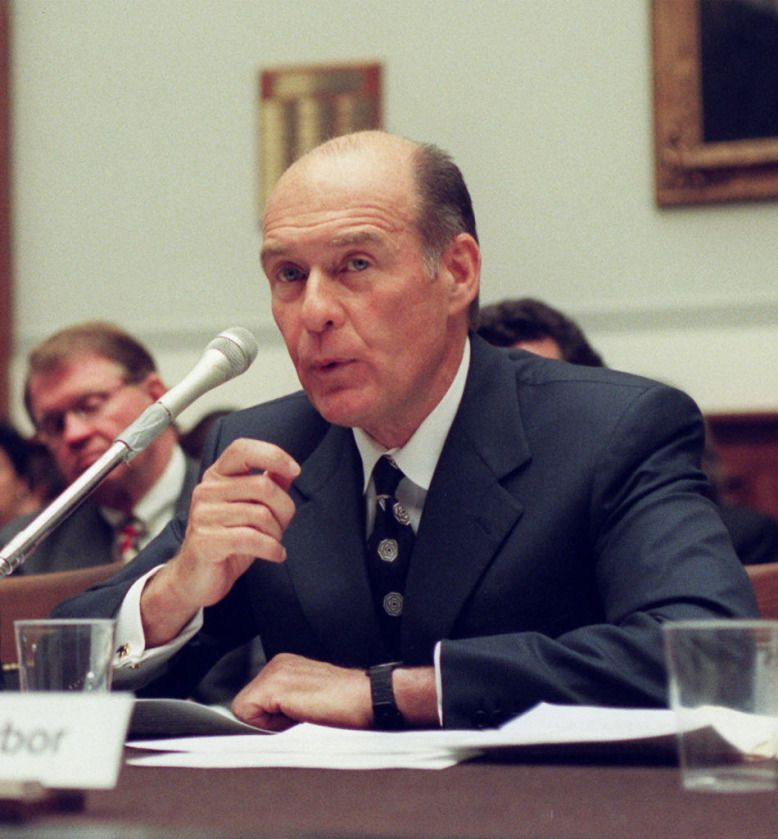 Then-Chicago Board of Trade chairman Patrick Arbor testifies on Capitol Hill on July 17, 1998, before the House Banking Committee hearing on legislation to study derivatives regulation. | AP