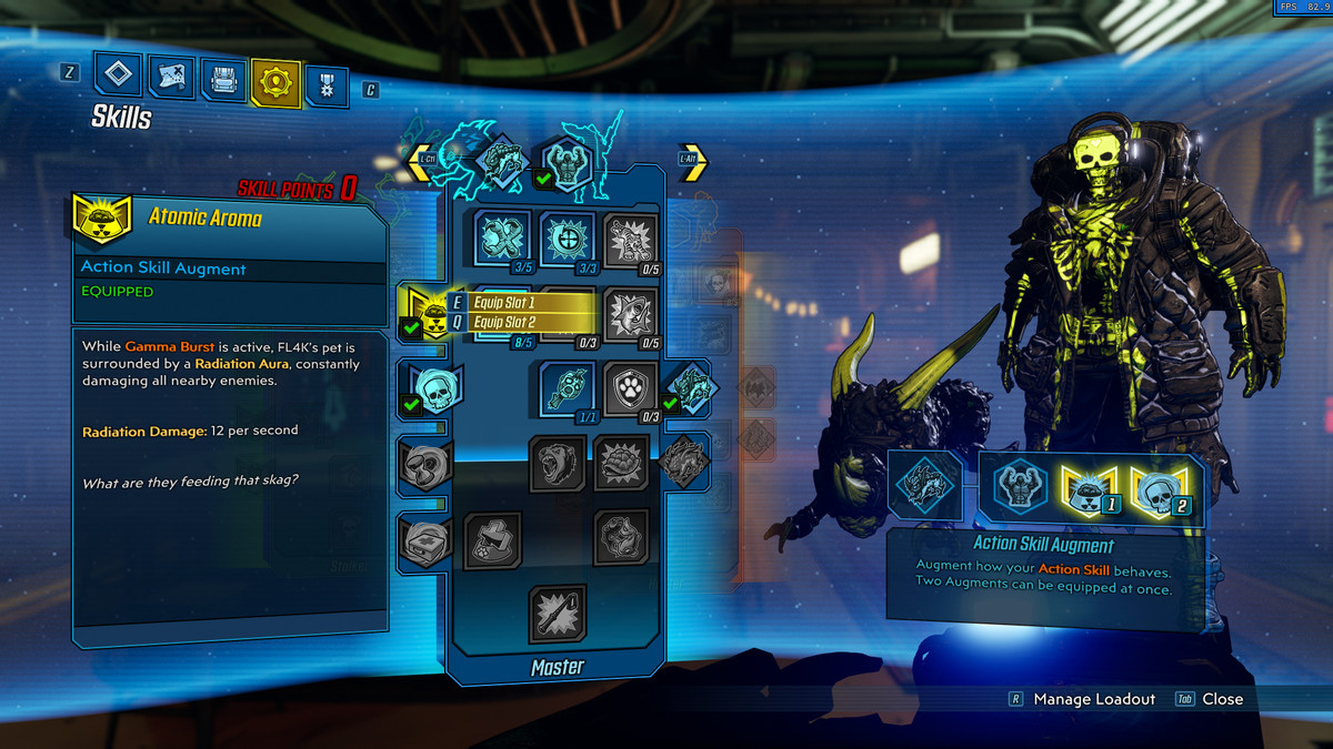 An info panel showing off action skill augments in Borderlands 3