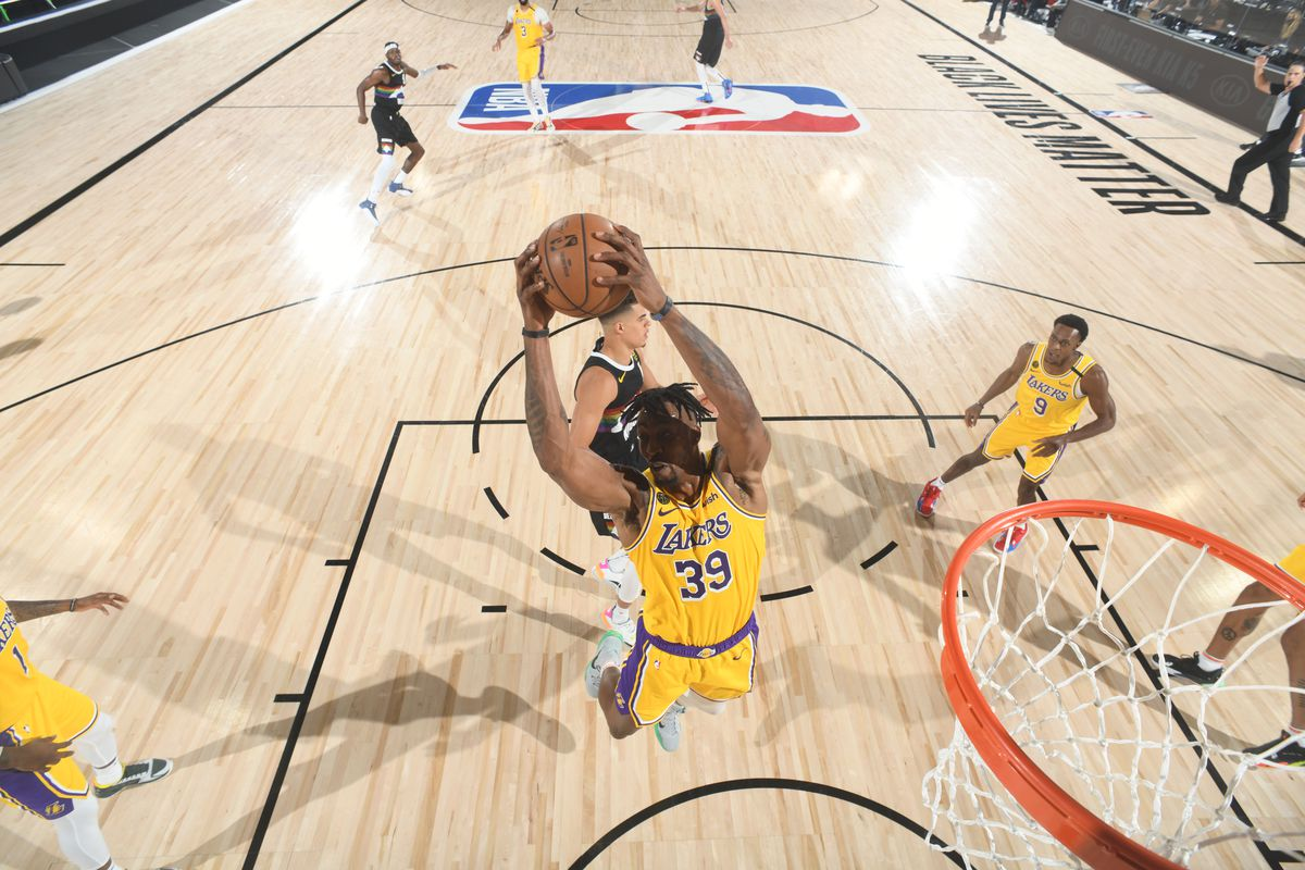 Dwight Howard of the Los Angeles Lakers grabs the rebound against the Denver Nuggets during Game Four of the Western Conference Finals on September 24, 2020 in Orlando, Florida at AdventHealth Arena.