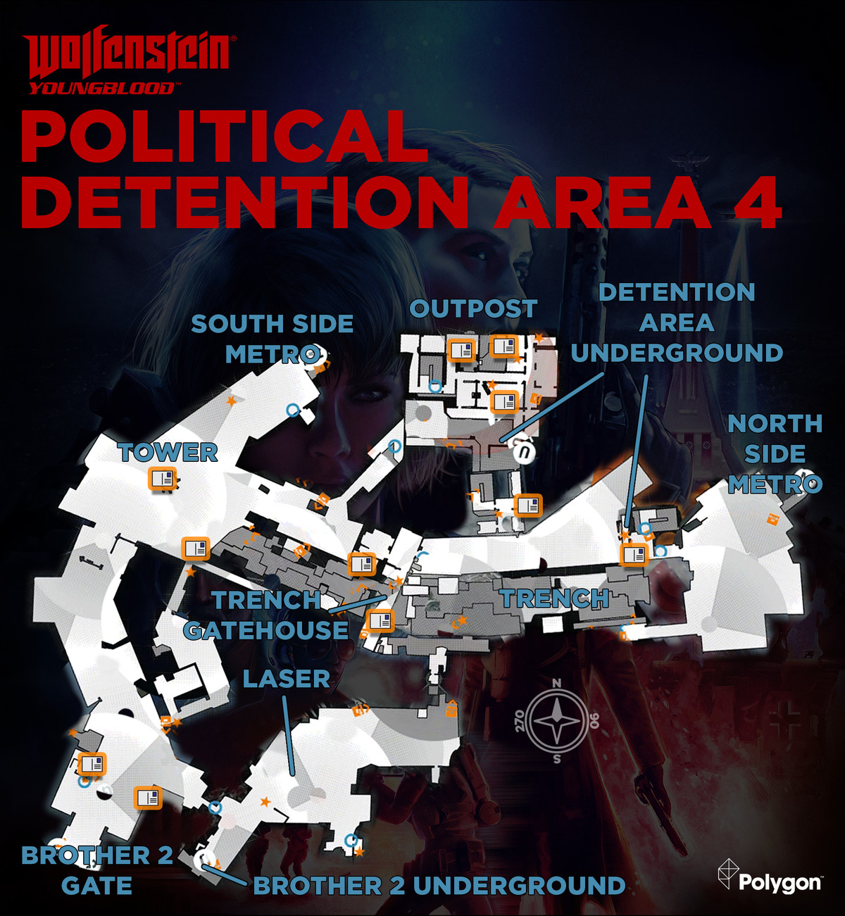 Wolfenstein: Youngblood Political Detention Area 4map with Readable collectible locations