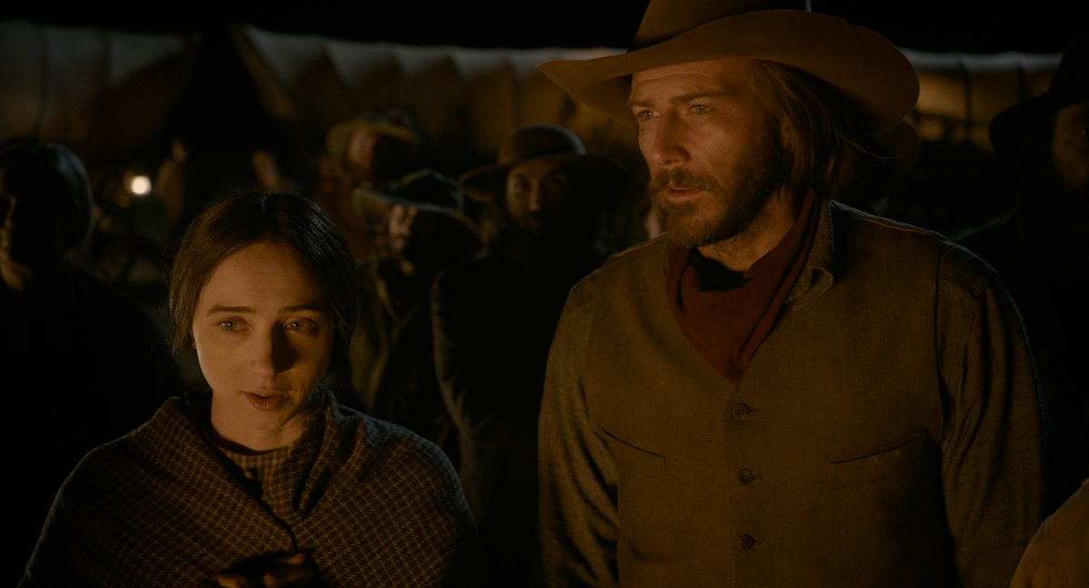 Zoe Kazan and Bill Heck in The Ballad of Buster Scruggs.