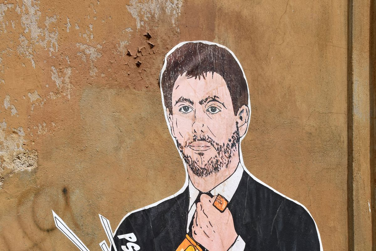 Mural of Chairman of Juventus Andrea Agnelli in Rome