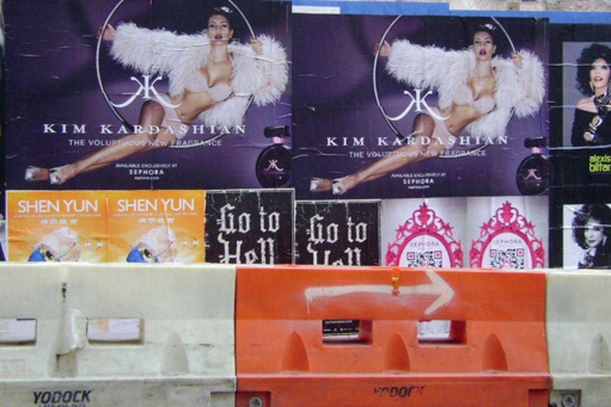 Kim Kardashian perfume ads on the Upper East Side